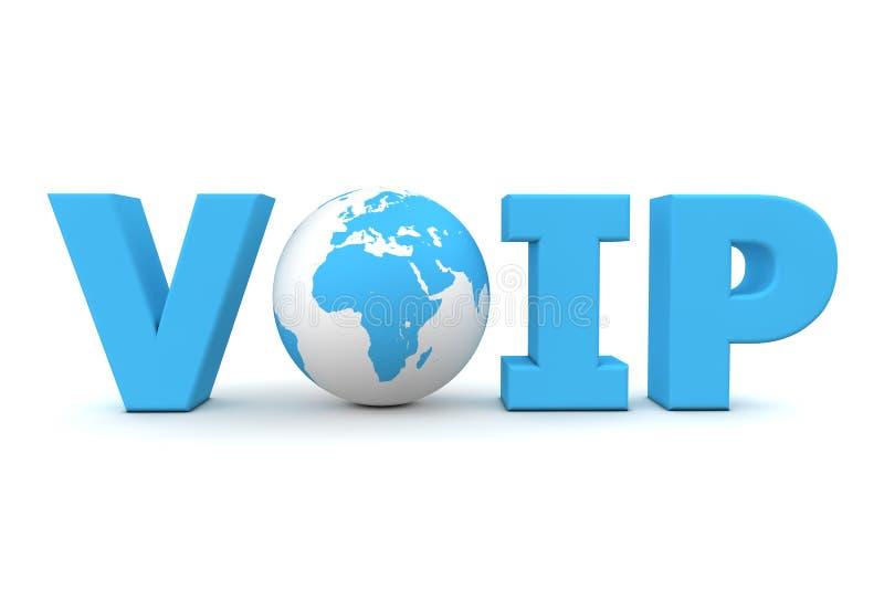 Azul del mundo de VoIP ilustración del vector