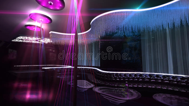 Azul del proyector del club nocturno del Karaoke stock de ilustración
