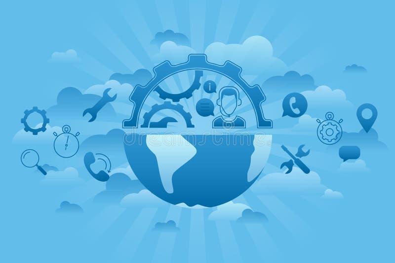 Azul del servicio global stock de ilustración