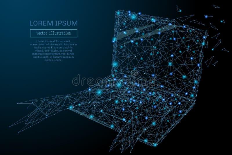 Azul del wireframe del ordenador portátil ilustración del vector