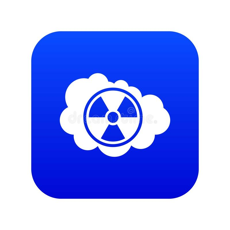 Azul digital da nuvem e do ícone radioativo do sinal ilustração do vetor