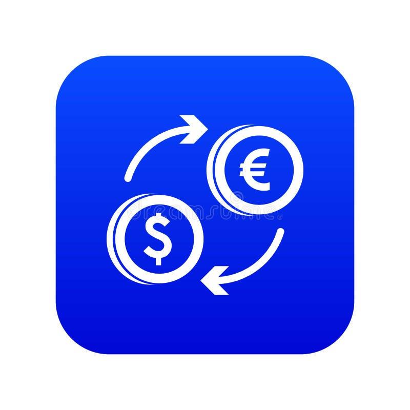 Azul digital del dólar del icono euro euro del intercambio libre illustration
