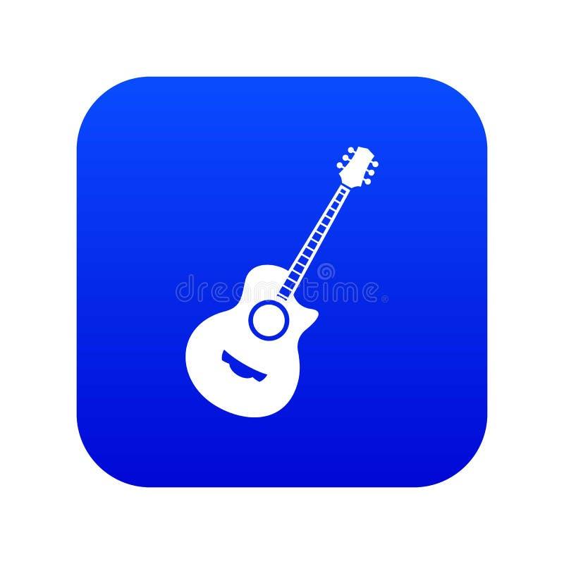 Azul digital del icono clásico de la guitarra ilustración del vector