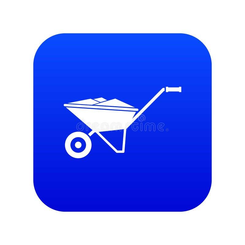 Azul digital del icono de la carretilla ilustración del vector