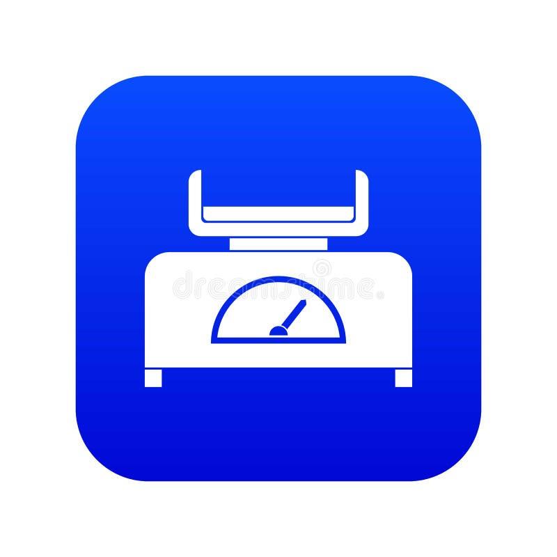 Azul digital del icono de la escala del peso ilustración del vector