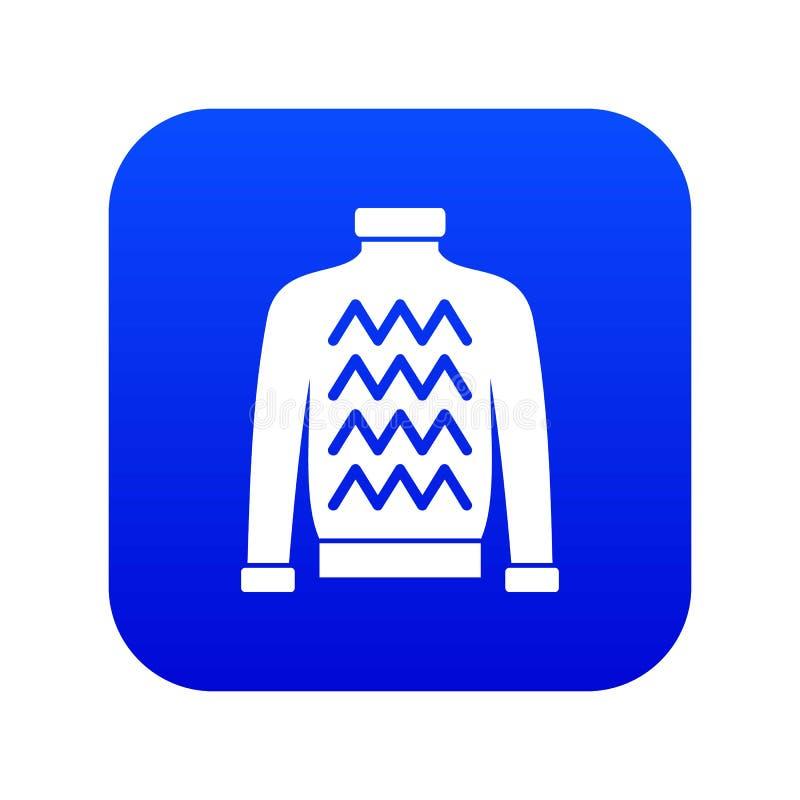 Azul digital del icono del suéter de los hombres ilustración del vector