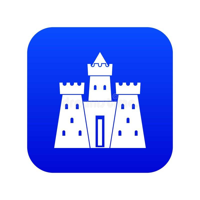 Azul digital do ícone antigo do palácio do castelo ilustração royalty free