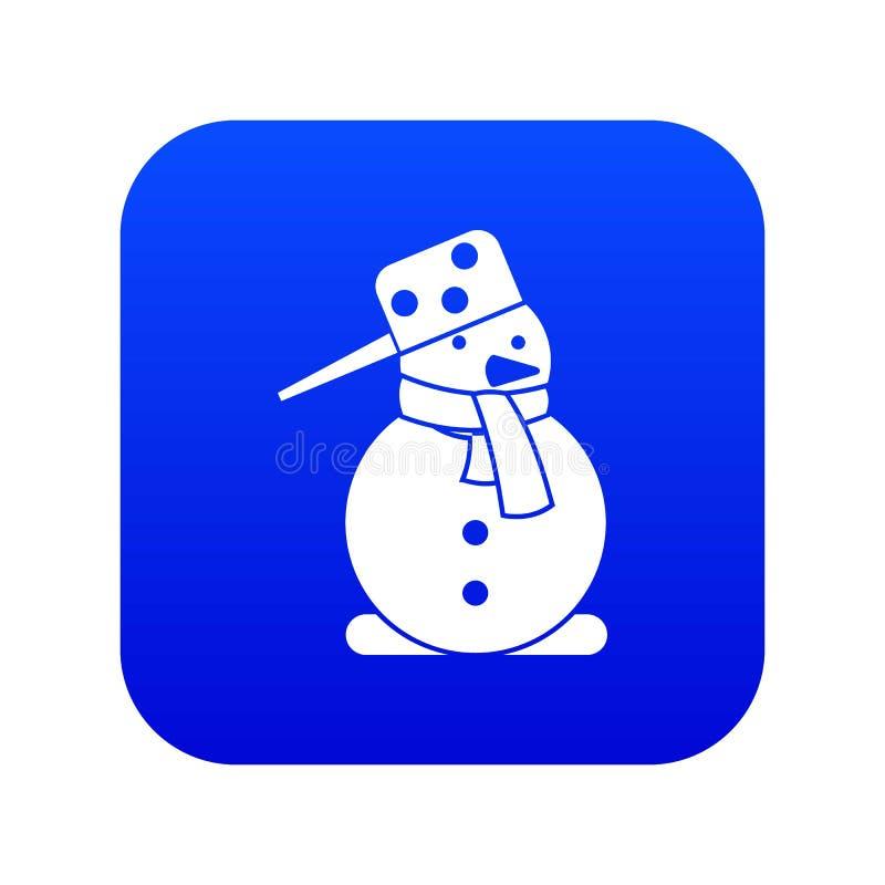 Azul digital do ícone do boneco de neve ilustração do vetor