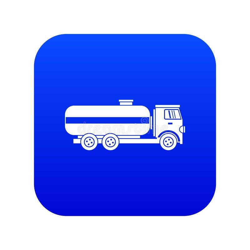 Azul digital do ícone do caminhão de petroleiro do combustível ilustração stock