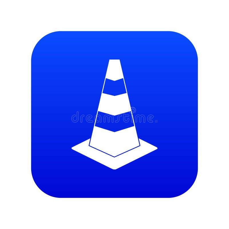 Azul digital do ícone do cone do tráfego ilustração royalty free