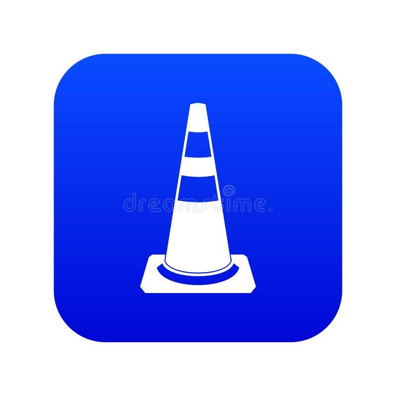 Azul digital do ícone do cone do tráfego ilustração stock