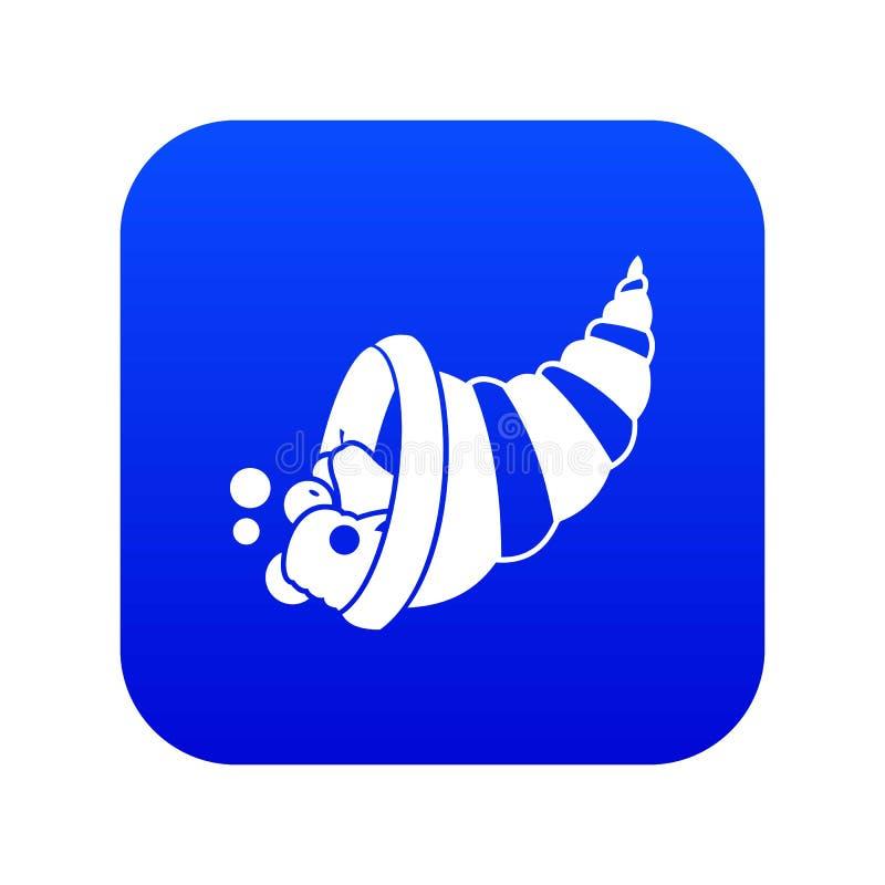 Azul digital do ícone da cornucópia da ação de graças ilustração royalty free