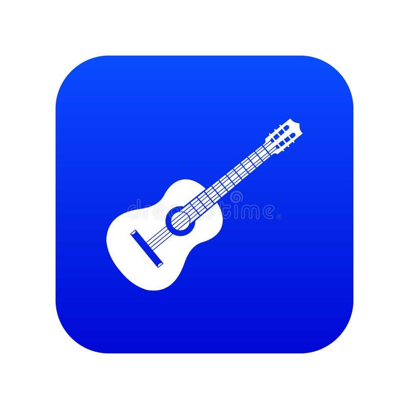 Azul digital do ícone da guitarra ilustração stock