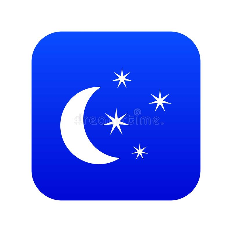 Azul digital do ícone da lua e das estrelas ilustração do vetor