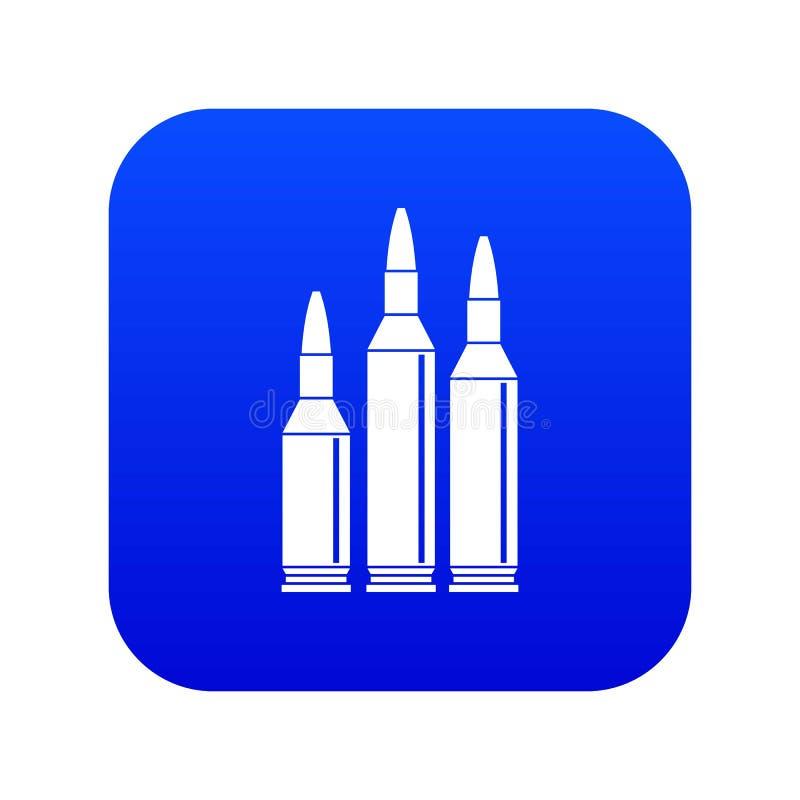 Azul digital do ícone da munição da bala ilustração do vetor