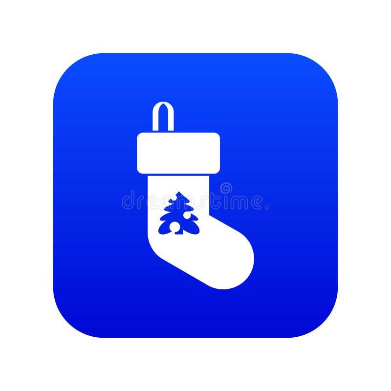 Azul digital do ícone da peúga do Natal ilustração stock