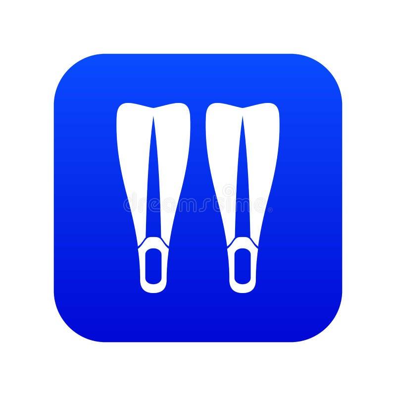 Azul digital do ícone das aletas ilustração do vetor