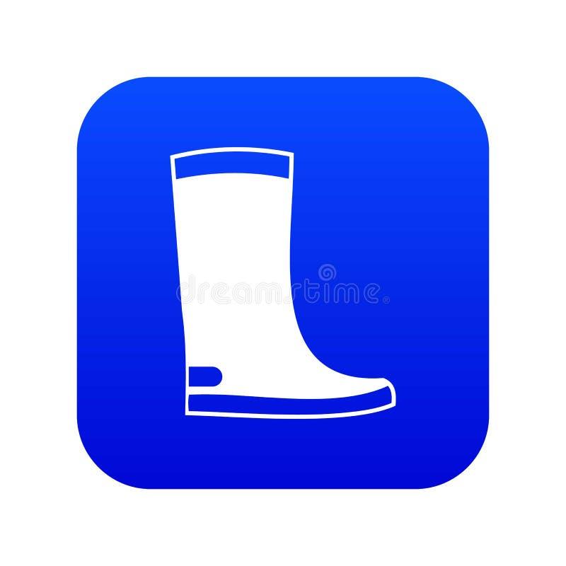 Azul digital do ícone das botas de borracha ilustração stock