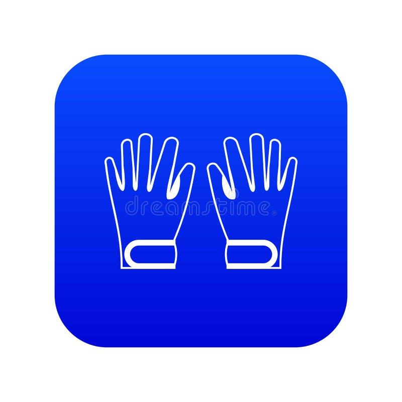 Azul digital do ícone das luvas do inverno ilustração royalty free
