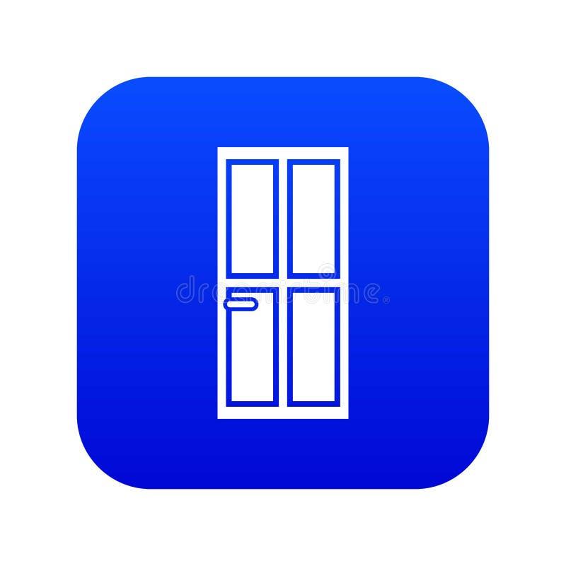 Azul digital do ícone de madeira fechado da porta ilustração do vetor