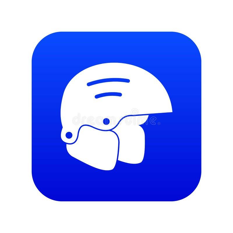 Azul digital do ícone dos capacetes do Snowboard ilustração royalty free