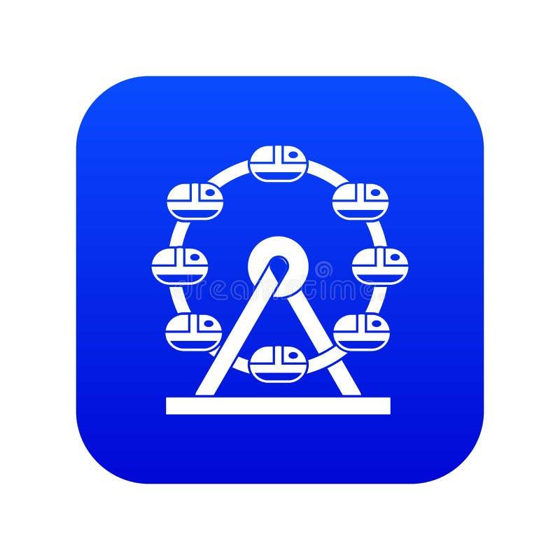 Azul digital do ícone gigante da roda de ferris ilustração stock