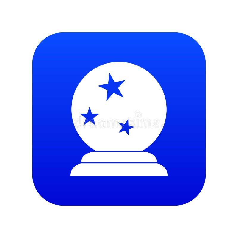 Azul digital do ícone mágico da bola ilustração royalty free