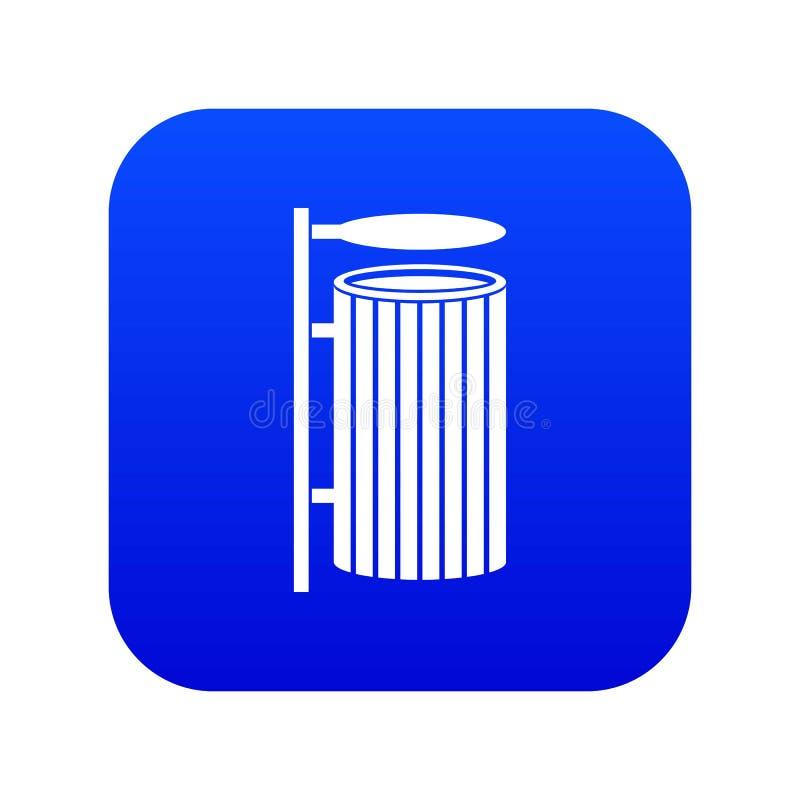 Azul digital do ícone público do balde do lixo ilustração royalty free