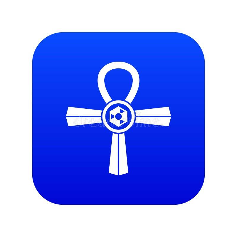 Azul digital do ícone do símbolo de Egito Ankh ilustração royalty free