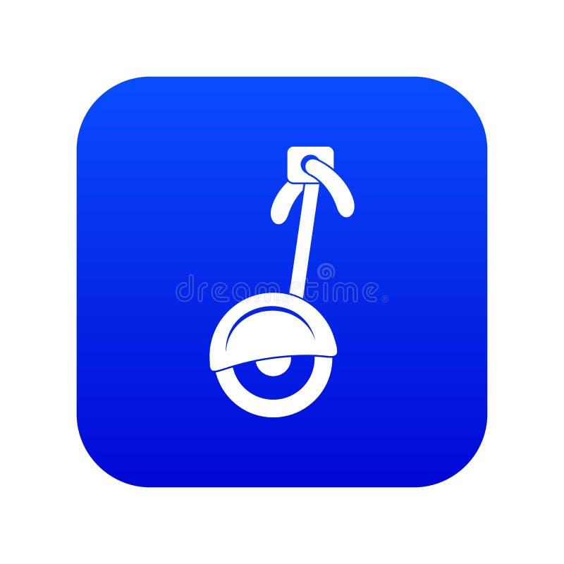 Azul digital do ícone do Unicycle ilustração royalty free