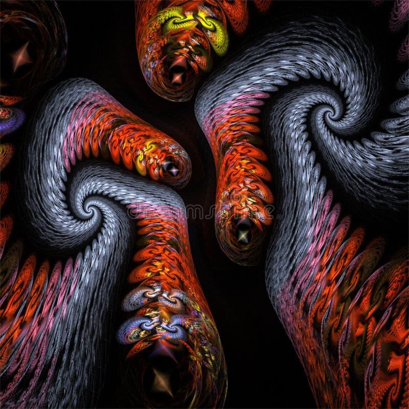 Azul divertido loco del arte abstracto del fractal y gusanos rojos libre illustration