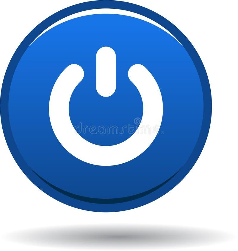 Azul do ícone da Web do botão do poder ilustração royalty free