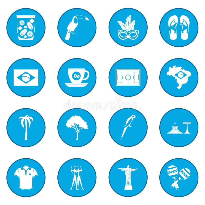 Azul do ícone de Brasil ilustração do vetor