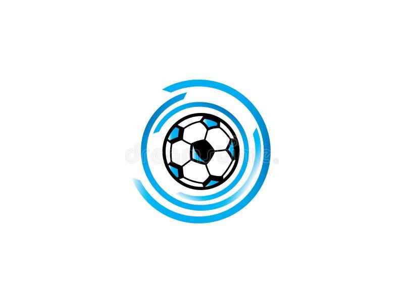 Azul do ícone do futebol para o projeto do logotipo, isolado na ilustração branca dos efeitos de fundo ilustração do vetor