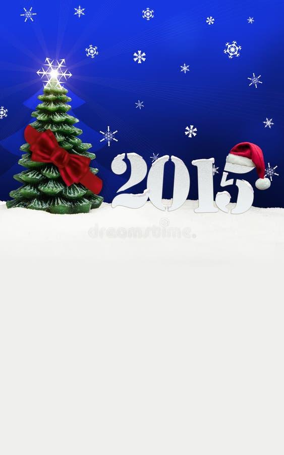 Azul do ano novo feliz 2015 de árvore de Natal ilustração royalty free