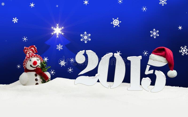 Azul do ano novo feliz do boneco de neve 2015 ilustração stock