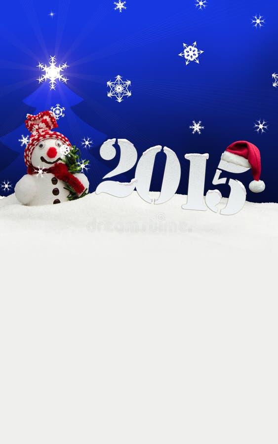 Azul do ano novo feliz do boneco de neve 2015 ilustração do vetor
