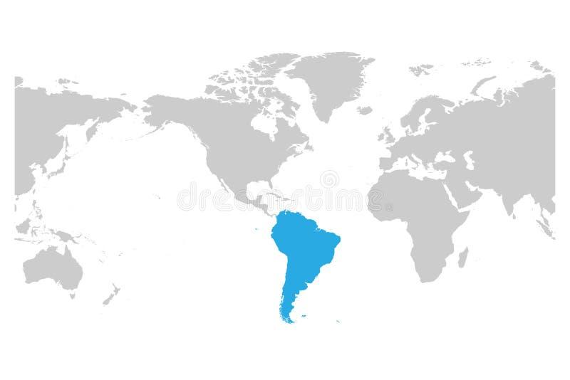 Azul do continente de Ámérica do Sul marcado na silhueta cinzenta ilustração royalty free
