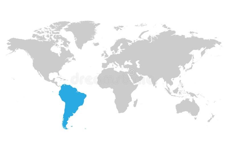 Azul do continente de Ámérica do Sul marcado na silhueta cinzenta do mapa do mundo Ilustração lisa simples do vetor ilustração royalty free
