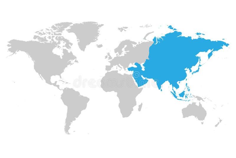 Azul do continente de Ásia marcado na silhueta cinzenta do mapa do mundo ilustração royalty free