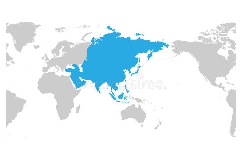 Azul do continente de Ásia marcado na silhueta cinzenta do mapa do mundo Centrado em Ásia Ilustração lisa simples do vetor ilustração do vetor