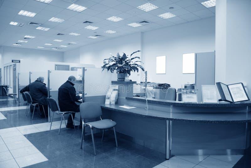 Azul do escritório do banco foto de stock