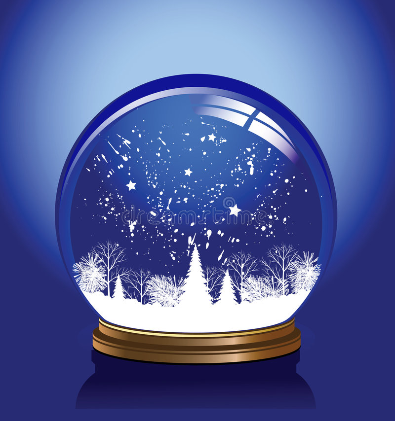 Azul do globo da neve do vetor ilustração do vetor