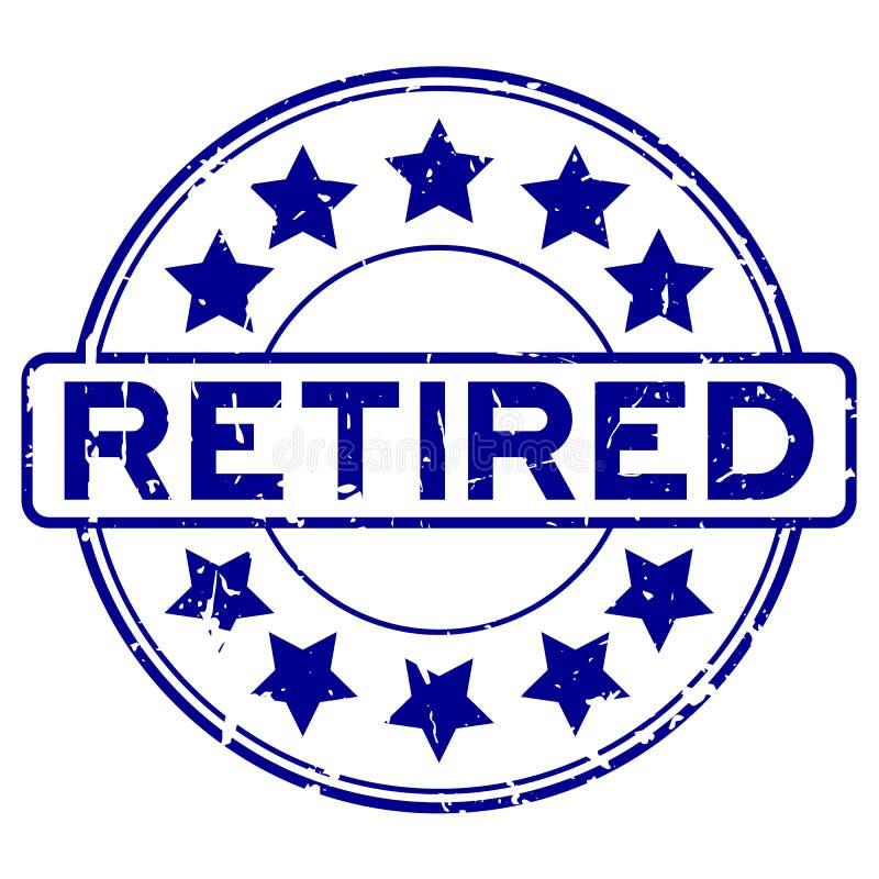 Azul do Grunge aposentado com carimbo de borracha redondo do ícone da estrela no fundo branco ilustração do vetor