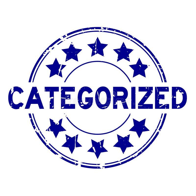 Azul do Grunge categorizado com carimbo de borracha redondo do ícone da estrela no fundo branco ilustração stock