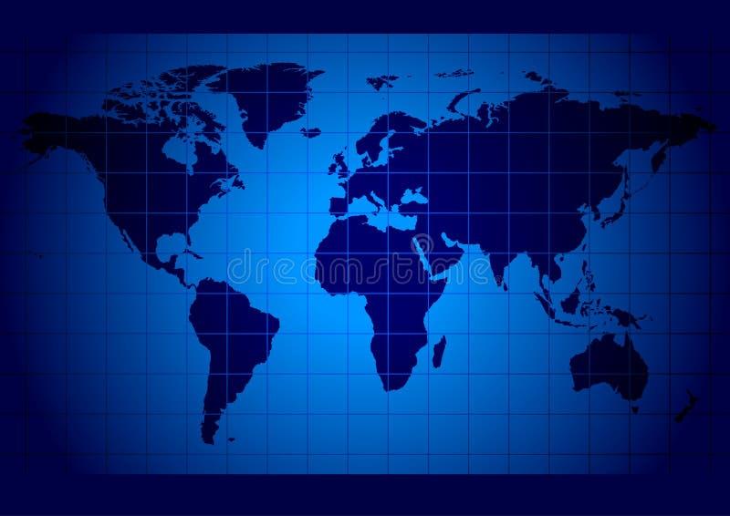 Azul do mapa de mundo ilustração royalty free