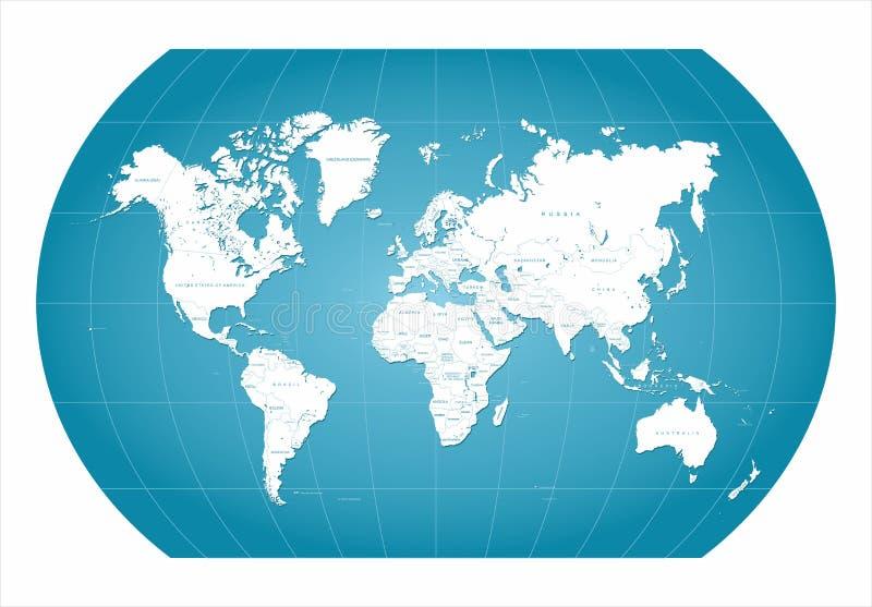 Azul do mapa do mundo ilustração royalty free