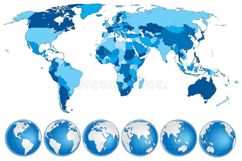 Azul do mapa do mundo com países e globos ilustração do vetor