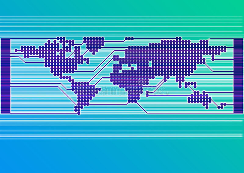 Azul do mundo da placa de circuito ilustração do vetor