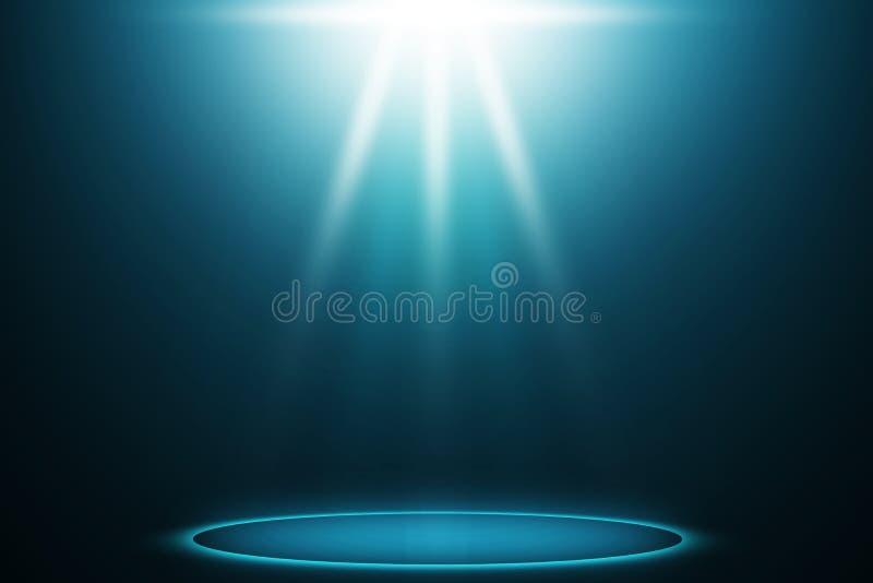 Azul do projetor do partido no fundo do entretenimento da fase ilustração stock